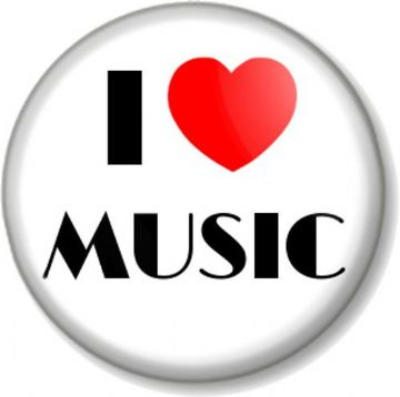 I Love / Heart MUSIC Pin Button Badge Singing Dancing Musical Instrument